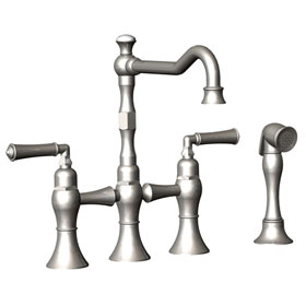 Rubinet Raven 8URBRVL Kitchen Bridge Faucet with Hand Spray and lever handles