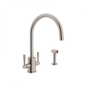 """PERRIN & ROWE® CONTEMPORARY SINGLE HOLE """"C"""" SPOUT KITCHEN FAUCET WITH ROUND BODY AND SIDESPRAY #U.4312"""