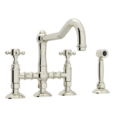 COUNTRY KITCHEN DECK MOUNT COLUMN SPOUT 3 LEG BRIDGE KITCHEN FAUCET WITH SIDESPRAY PRODUCT # A1458WS