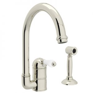 COUNTRY KITCHEN SINGLE HOLE C-SPOUT KITCHEN FAUCET WITH SIDESPRAY PRODUCT # A3606WS