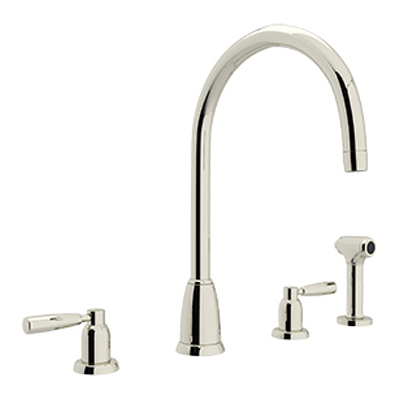 CONTEMPORARY 4-HOLE C-SPOUT KITCHEN FAUCET WITH SIDE SPRAY # U.4891