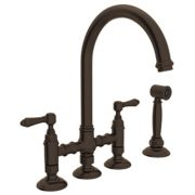 COUNTRY KITCHEN DECK MOUNTED C-SPOUT 3 LEG BRIDGE KITCHEN FAUCET WITH SIDESPRAY PRODUCT # A1461WS