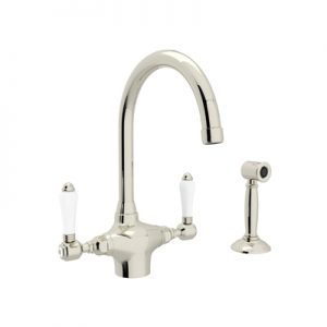COUNTRY KITCHEN SINGLE HOLE C-SPOUT KITCHEN FAUCET WITH SIDESPRAY PRODUCT # A1676WS