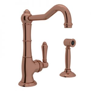 COUNTRY KITCHEN CINQUANTA SINGLE HOLE COLUMN SPOUT BAR/FOOD PREP FAUCET WITH SIDESPRAY PRODUCT # A3650/6.5WS