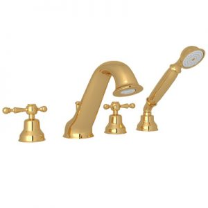 4-HOLE DECK MOUNTED BATHTUB FILLER WITH HANDSHOWER #AC26 by Rohl