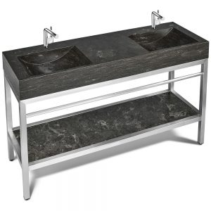 VNM-060 + LPG-060 – 60″ Stone and steel bathroom vanity unit