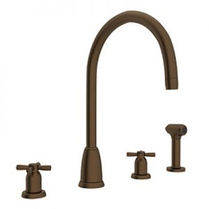 "PERRIN & ROWE® CONTEMPORARY 4-HOLE ""C"" SPOUT KITCHEN FAUCET WITH SIDESPRAY # U.4890"