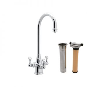 "ROHL - PERRIN & ROWE® TRADITIONAL ETRUSCAN 3-LEVER BAR/FOOD PREP FAUCET WITH ""C"" SPOUT #U.KIT1220"