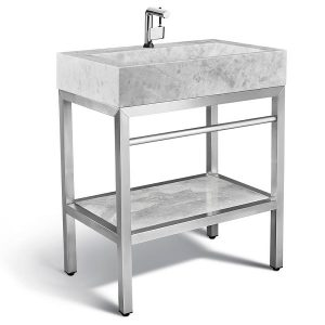 "VMS-030 + LMS-030 - 30"" Marble and steel bathroom vanity"