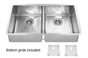Kindred KCUD36/9-10BG Double Bowl Undermount Kitchen Sink