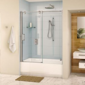 Fleurco Glide Tub Enclosure Sliding Door And Fixed Panel