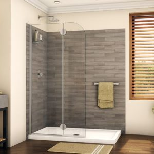 "Fleurco Monaco Round Top Shower Shield With Fixed Panel, 79"" H Shower Door"