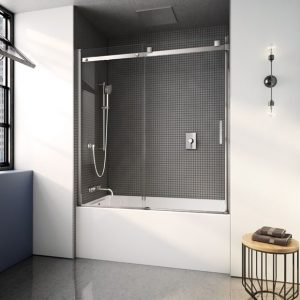 Fleurco Skyline Tub Enclosure Sliding Door And Fixed Panel